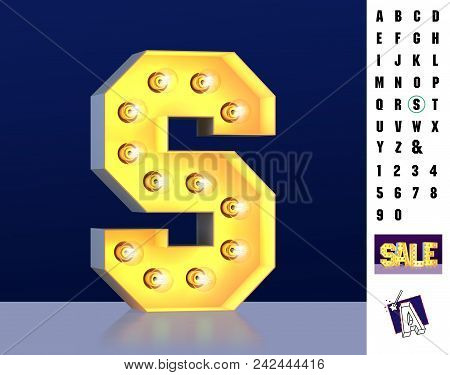 Letter S From Alphabet. Glowing Letter S. Bulb Type S. 3d Illuminated Light Bulb Symbol Letter S. Re