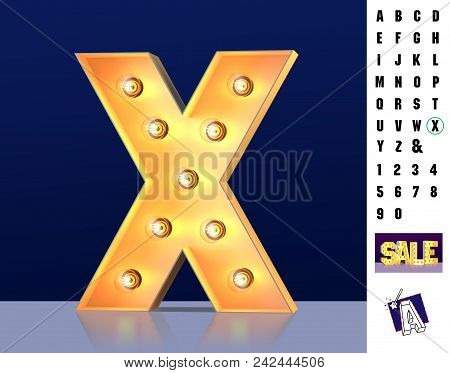 Letter X From Alphabet. Glowing Letter X. Bulb Type X. 3d Illuminated Light Bulb Symbol Letter X. Re