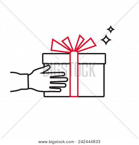 Give Gift. Man Holds Gift Box With A Red Ribbon In Hands, Minimal Line Design. Giving, Receiving Sur