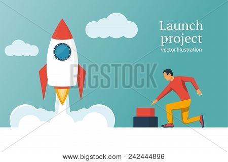 Startup Working Enterprise. Launch Project. Business Concept. Businessman Hand Pushing Start Button.