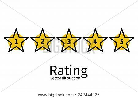 Star Rating Minimal Design Black Line. 5 Star Rate Icon. Feedback Concept. Evaluation System. Positi