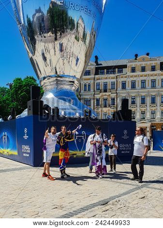 Kyiv, Ukraine - May 26, 2018: The Final Of The Champions League, Fans Of The Real Madrid Team Stand