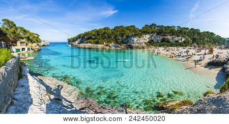 Cala Llombards, Palma De Mallorca, Spain - May 24, 2018: Amazing Beach Of Cala Llombards, Majorca Is
