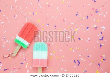 Table Top View Aerial Image Of Food For Summer Holiday Background Concept.flat Lay Ice Cream Pop Sti