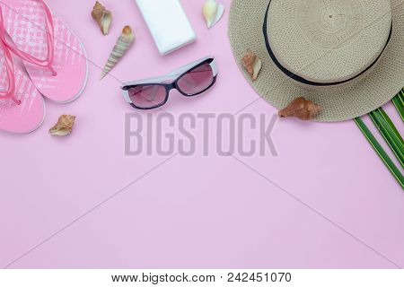 Table Top View Aerial Image Of Woman Clothing For Travel Beach In Summer Holiday Season Background C