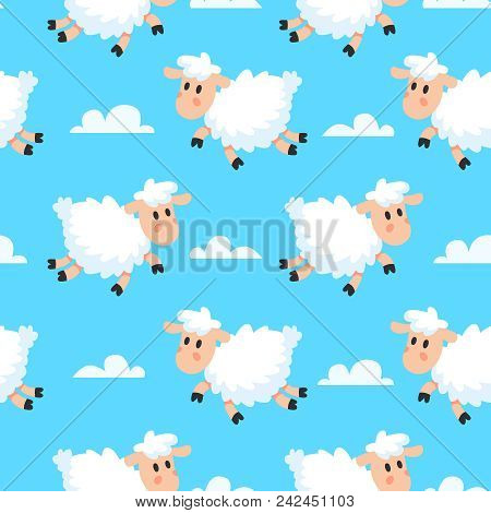 Happy Cute Sleeping Baby Animal Sheeps Fabric Background. Dreamy Woolly Fun Clouds Baa Lamb Or Sheep