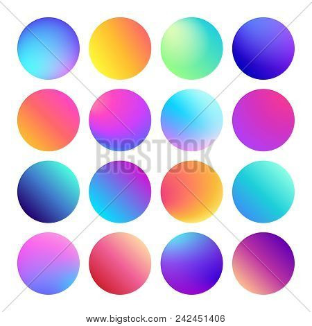 Rounded Holographic Gradient Sphere Button. Multicolor Green Purple Yellow Orange Pink Cyan Fluid Ci