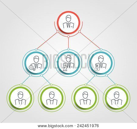 Business Hierarchy Circle Chart Infographics. Corporate Organizational Structure Graphic Elements. C