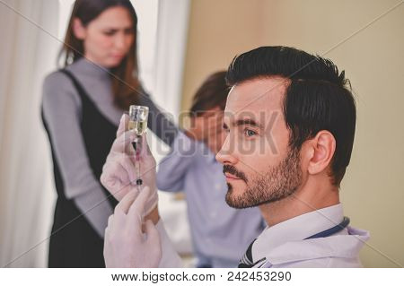 Terrible Medical Concept. Patients Are Afraid To Go To The Doctor. Patients Afraid Of Injection. Pat