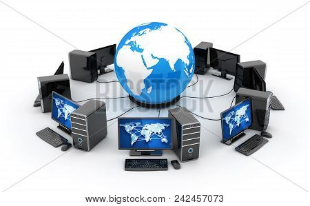 Abstract Earth, Network Connect And Many Computers. 3d Illustration
