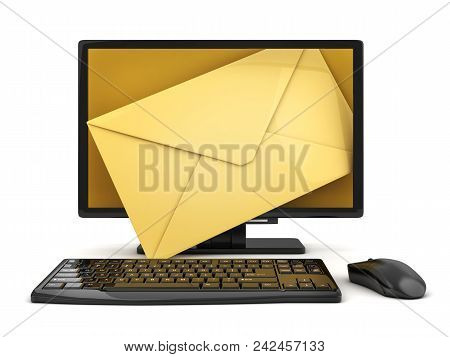 Computer And Envelope E-mail On White Background. 3d Illustration
