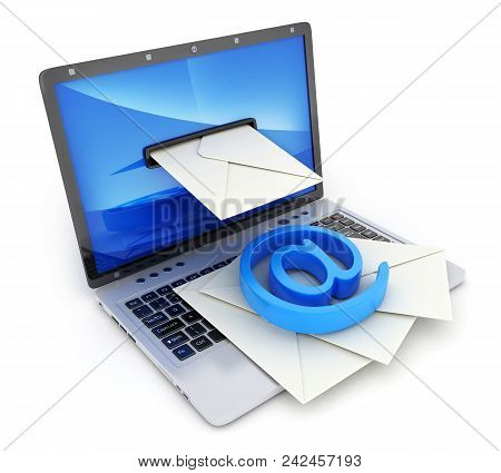 Laptop And E-mail Envelope On White Background. 3d Illustration