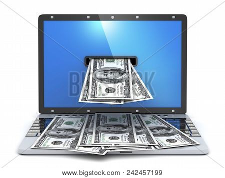 Laptop And Money In The Screen. 3d Illustration