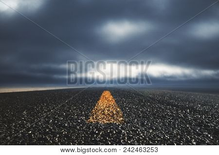 Abstract Road On Dull Sky Wallpaper. Way To Success Concept