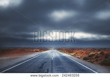 Abstract Road On Dull Sky Background. Way To Success Concept