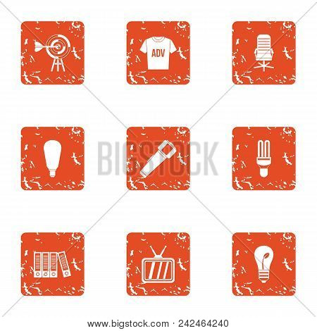 Environmental Advertising Icons Set. Grunge Set Of 9 Environmental Advertising Vector Icons For Web