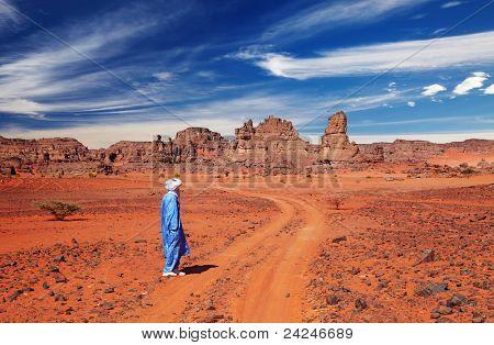 Tuareg in desert, Sahara Desert, Algeria