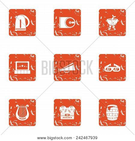 Notify Icons Set. Grunge Set Of 9 Notify Vector Icons For Web Isolated On White Background