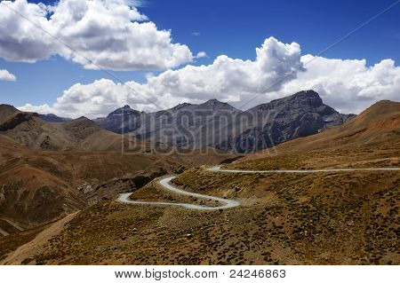 Landscape with high mountains road and blue sky. Zanskar. Himalayan scenic. India. poster