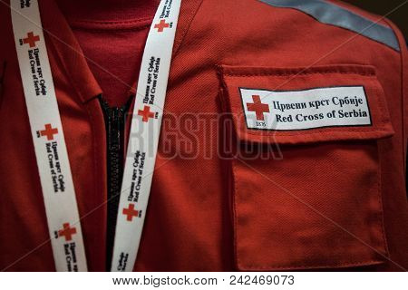 Belgrade, Serbia - May 19, 2018: Detail Of Red Cross Of Serbia Uniform (crveni Krst Srbije) With Its