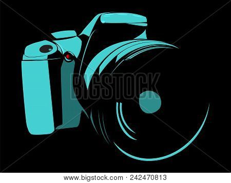 Slr Camera, Logo Blue On A Black Background