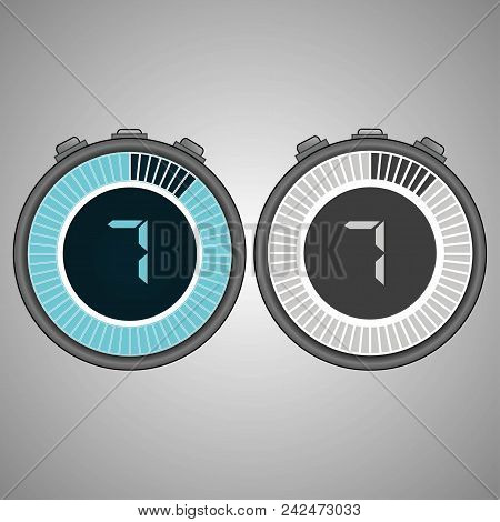 Electronic Digital Stopwatch 7 Seconds Isolated On Gray Background.stopwatch Icon Set. Timer Icon. T