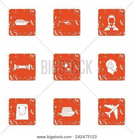 Cruise Staff Icons Set. Grunge Set Of 9 Cruise Staff Vector Icons For Web Isolated On White Backgrou