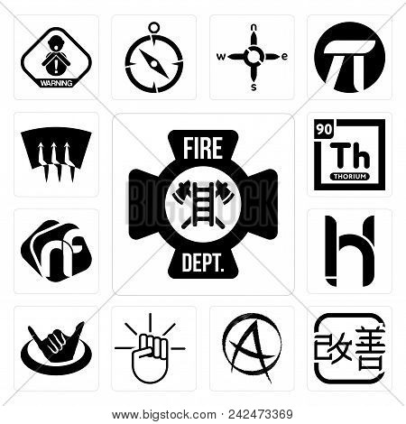 Set Of 13 Simple Editable Icons Such As Fire Dept, Kaizen, Punk Anarchy, , Hang Ten, Hh, Nf, Thorium