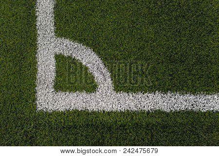 Soccer Field, Football Field, Corner Football, White Stripe On The Green Soccer Field From Top View