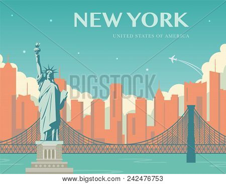 Statue Of Liberty. World Landmark. American Symbol. New York City. Vector Illustration