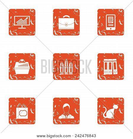 Thrifty Economy Icons Set. Grunge Set Of 9 Thrifty Economy Vector Icons For Web Isolated On White Ba
