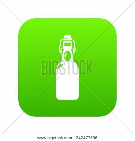 Bottle With Bung Icon Green Vector Isolated On White Background