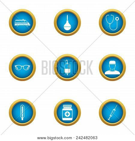 Supply Of Medicines Icons Set. Flat Set Of 9 Supply Of Medicines Vector Icons For Web Isolated On Wh