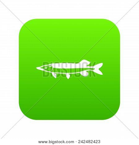 Saury Icon Digital Green For Any Design Isolated On White Vector Illustration