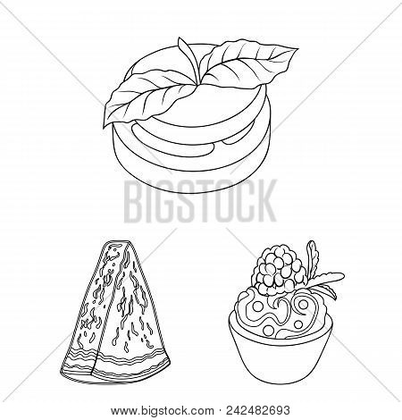 Vegetarian Dish Outline Icons In Set Collection For Design.vegetable And Milk Food Vector Symbol Sto