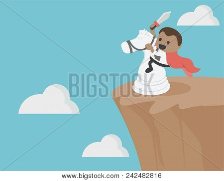 Horse To  Obstacles Over Precipice Between  Risk, Challenge, Success, Be A Different Businessman.