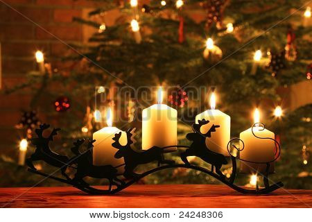 Advent Candles on Reindeer Sledge
