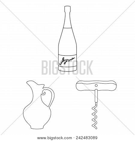 Wine Products Outline Icons In Set Collection For Design. Equipment And Production Of Wine Vector Sy