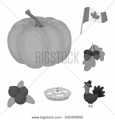 Canada Thanksgiving Day Monochrome Icons In Set Collection For Design. Canada And Tradition Vector S