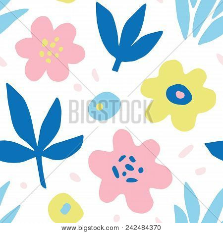 Hand Drawn Colorful Floral Seamless Repeat Pattern. Spring, Summer Flowers, Trendy Colors. Bold Fabr