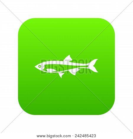 Herring Fish Icon Digital Green For Any Design Isolated On White Vector Illustration