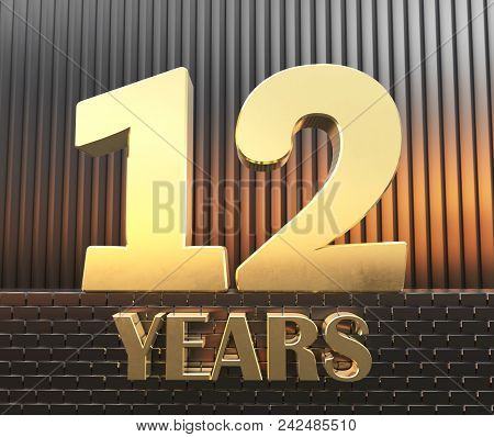 Golden Number Twelve Number 12 And The Word Years Against The Background Of Metal Rectangular Parall