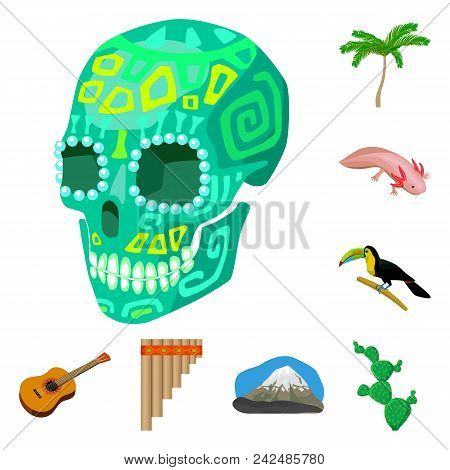 Country Mexico Cartoon Icons In Set Collection For Design. Mexico And Landmark Vector Symbol Stock