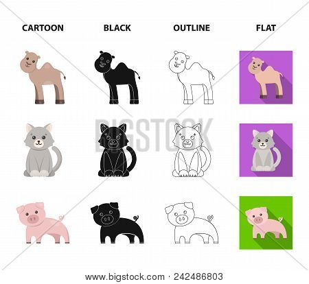An Unrealistic Cartoon, Black, Outline, Flat Animal Icons In Set Collection For Design. Toy Animals