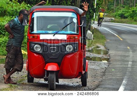 Two Man And Taxi Tuk-tuk In Asia / Thailand / India / Sri Lanka. Local Transport Of Asia, Poverty Of