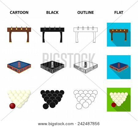 Board Game Cartoon, Black, Outline, Flat Icons In Set Collection For Design. Game And Entertainment