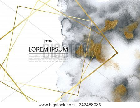 Luxury Background With Gold And Grey Marble Watercolor Texture.perfect For Wallpapers, Web Page Back