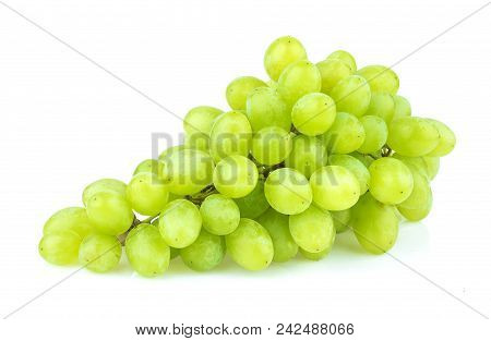 Green Grape Isolated On White Background. Studio Shot