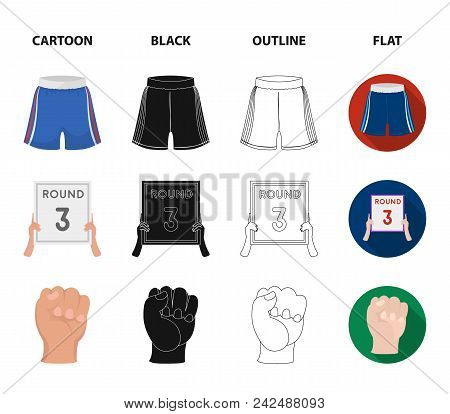Boxing, Sport, Round, Hand .boxing Set Collection Icons In Cartoon, Black, Outline, Flat Style Vecto