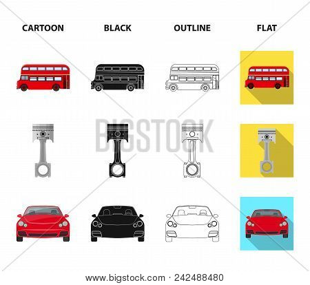 Car On Lift, Piston And Pump Cartoon, Black, Outline, Flat Icons In Set Collection For Design.car Ma
